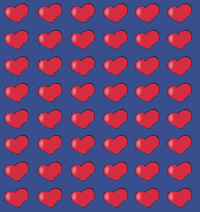 Background, Blue, Heart, Red, Love, Figure