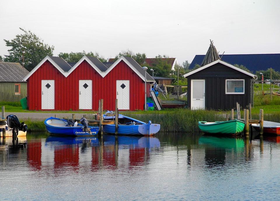 Port, Denmark, Fishing Village, Houses, Red, Water