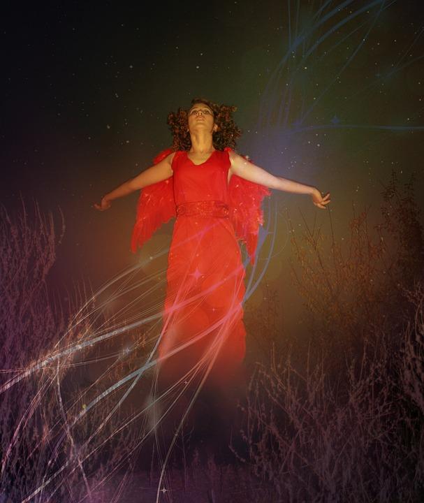 Girl, Angel, Flight, Wings, Red, Star, Night, Sky