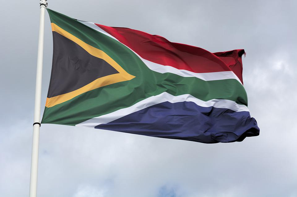 Flag, Red, Blue, South African, Flying, Sky, Outside