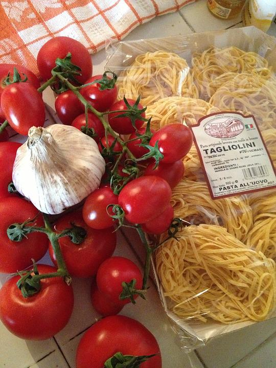Tomato, Garlic, Pasta, Italian, Food, Red, Meal, Rustic