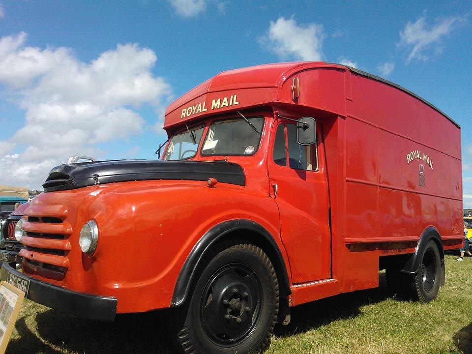 Gpo Van, Post Office Lorry, Red, Vehicle, Vintage, Old
