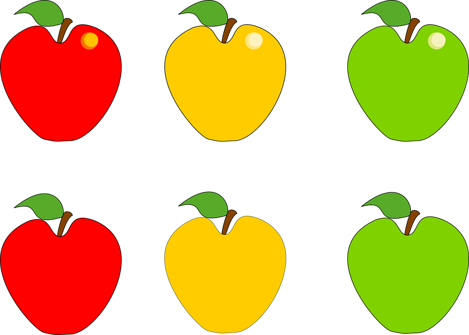 Apple, Fruit, Green, Yellow, Red