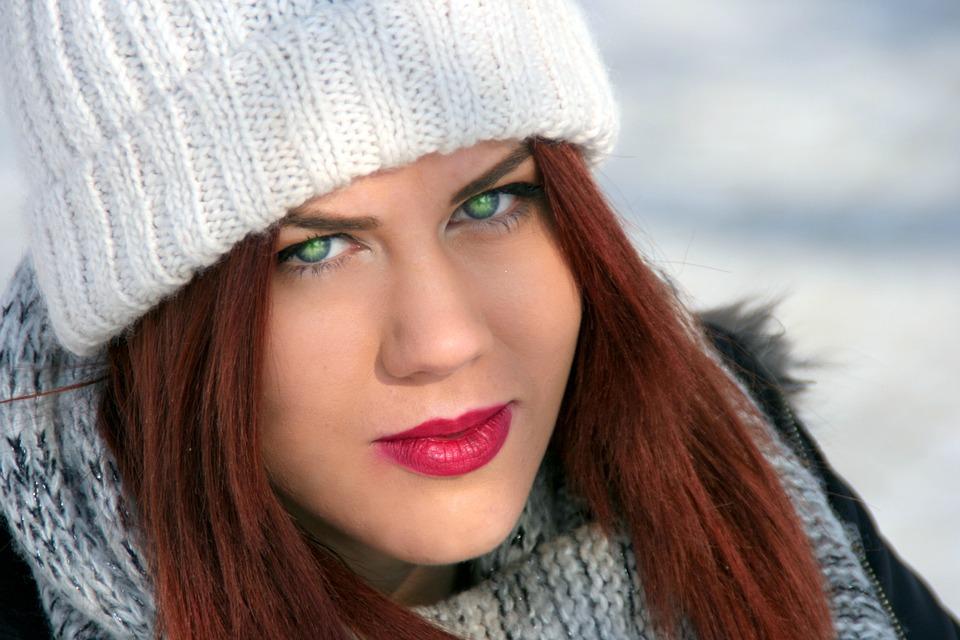 Girl, Green Eyes, Red Hair, Beauty, Winter, Fashion