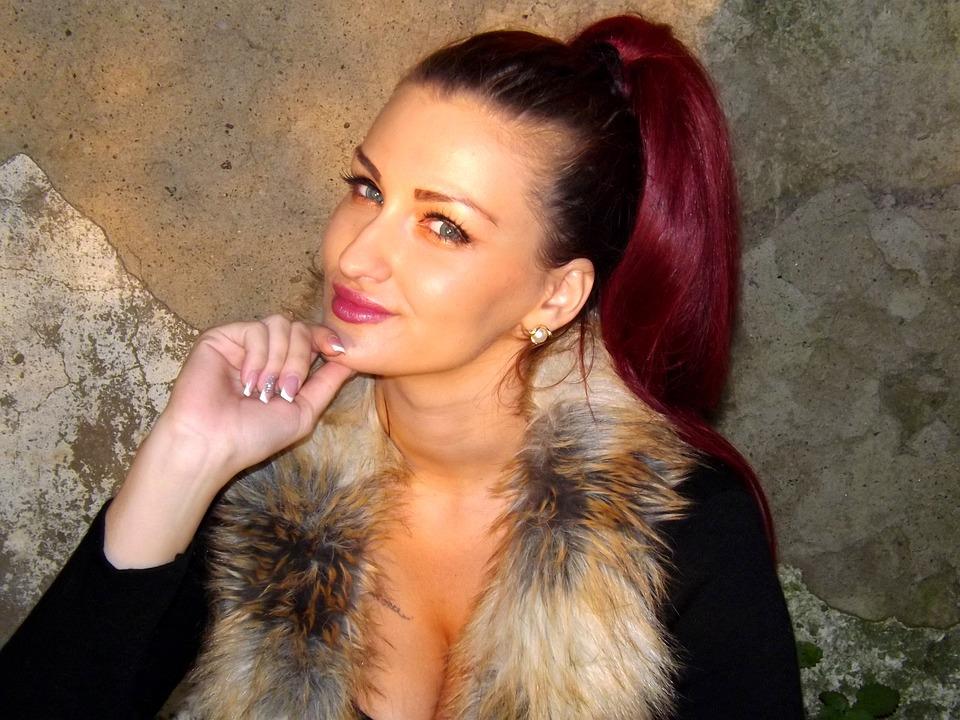 Girl, Fashion, Fur, Model, Beauty, Black, Red Hair