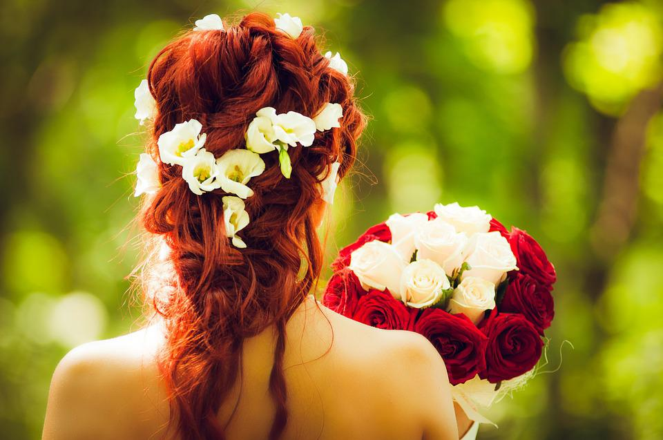 Bride, Marry, Wedding, Red Hair, Red Roses