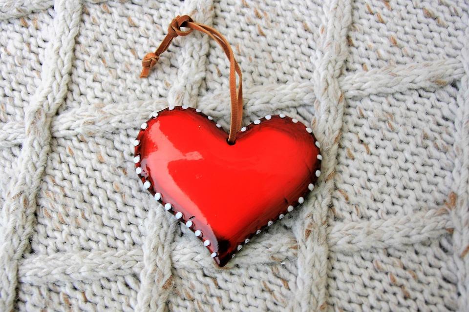 Weave, Red Heart, Symbol, Wool, Textile, Web, Model