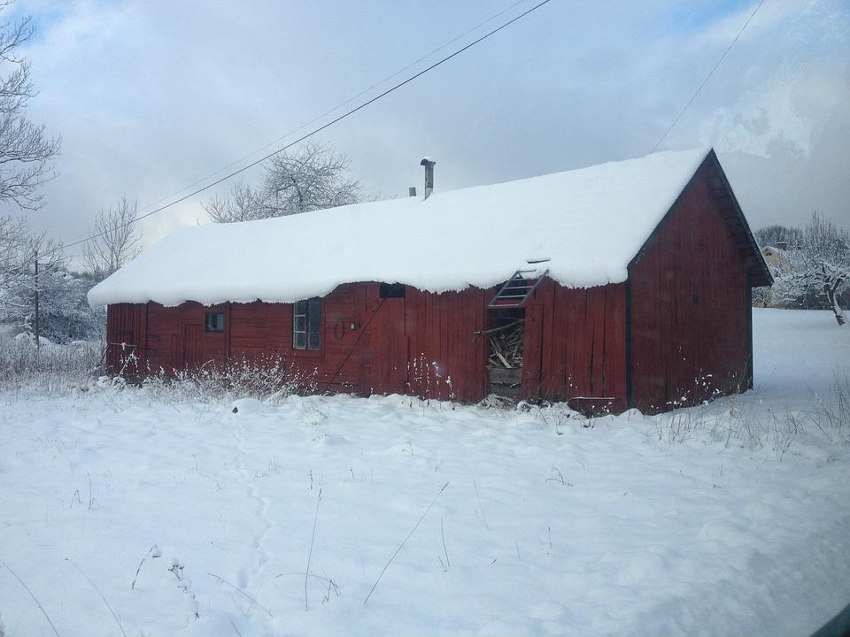 Winter, Red Cottage, Red House, Snow, Twilight