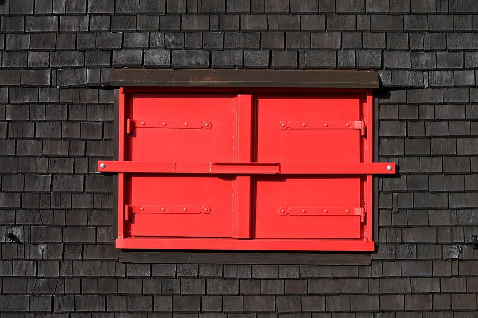 Window, Shutters, Closed, Locked, Red, Hut, Wood