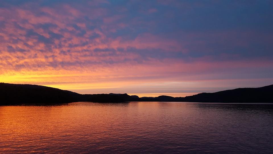 Sunset, Lake, Red, Mountain