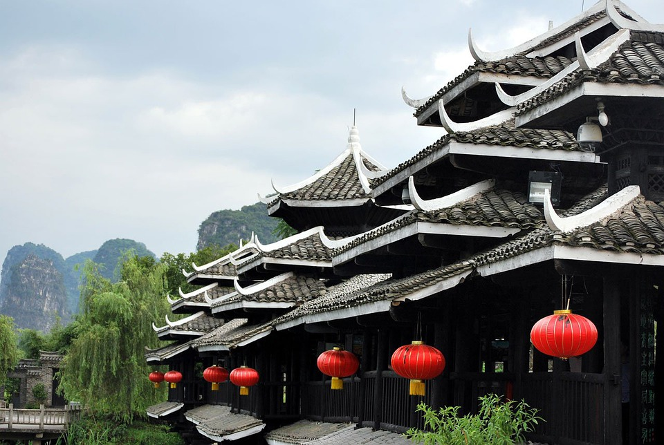 Building, Chinese, Architecture, Style, Red, Lanterns