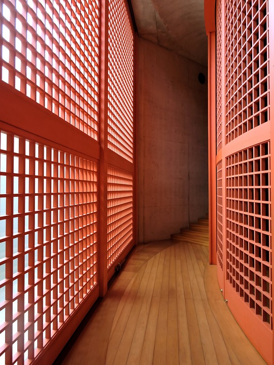 Japan, Red, Lattice, Asia, Japanese, Architecture