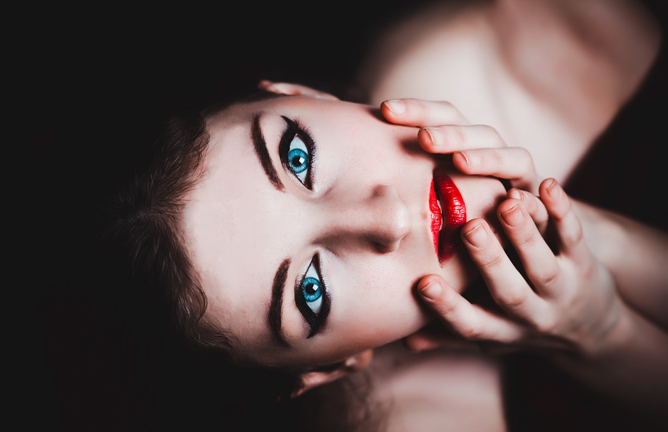 Blue Eyes, Woman, Female, Makeup, Model, Red Lipstick