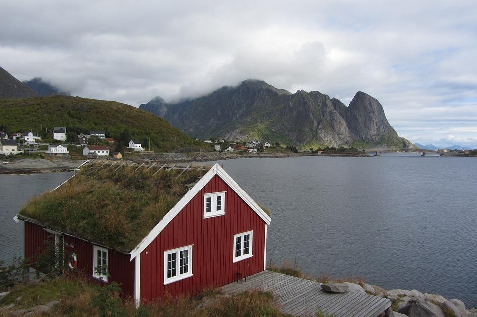 Lofoten, Hut, Red, Sea, Norwegian Sea, Moss, Clouds