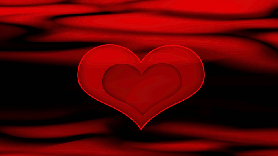 Red, Black, Heart, Valentines Day, Background, Love