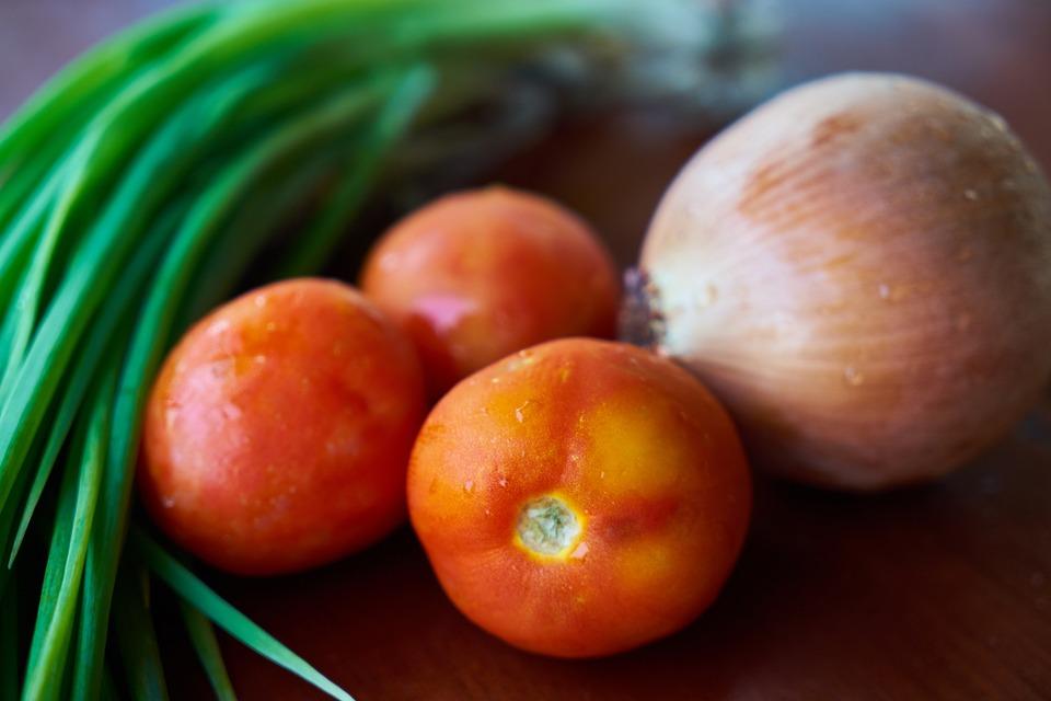 Vegetables, Vegetable, Tomato, Onion, Red, Vegetarian