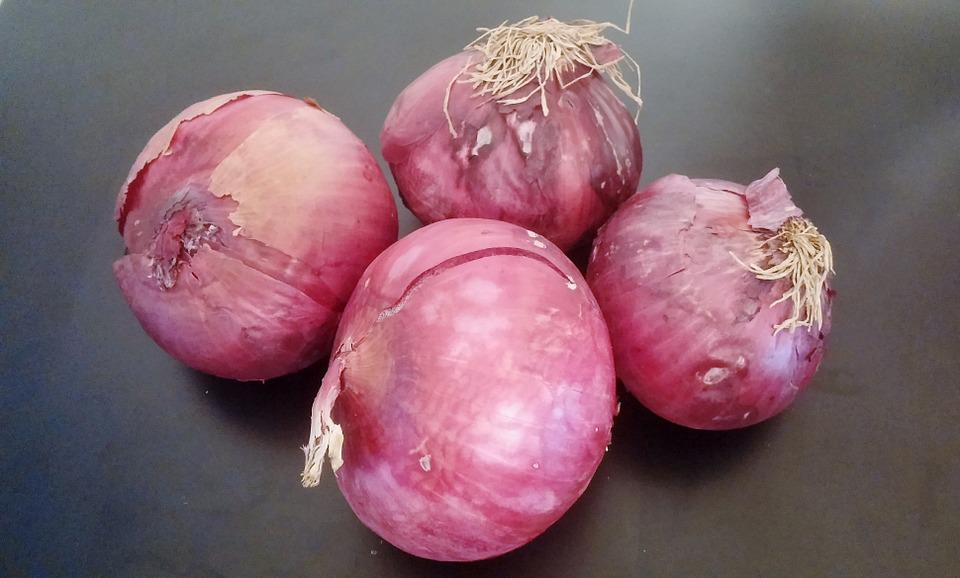 Onions, Red Onions, Purple Onions, Vegetables, Unpeeled