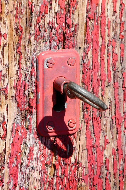 Lock Old Ling Paint Red Door Open Close Key