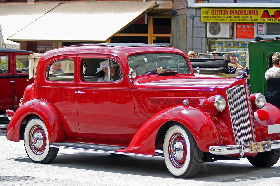 Spain, Antique Car, Red Packard, Rally, Car Show