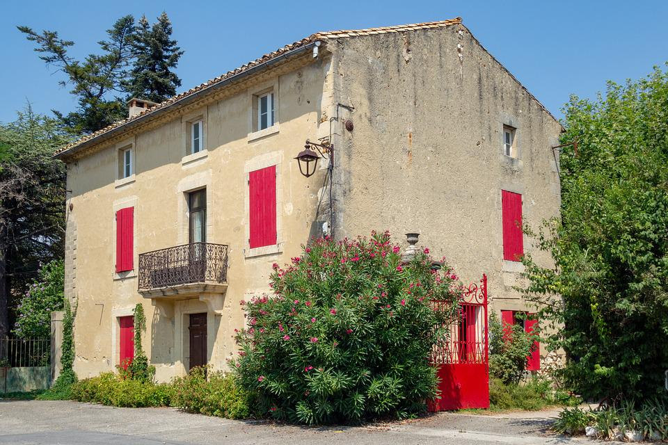 South, France, House, Pane, Red