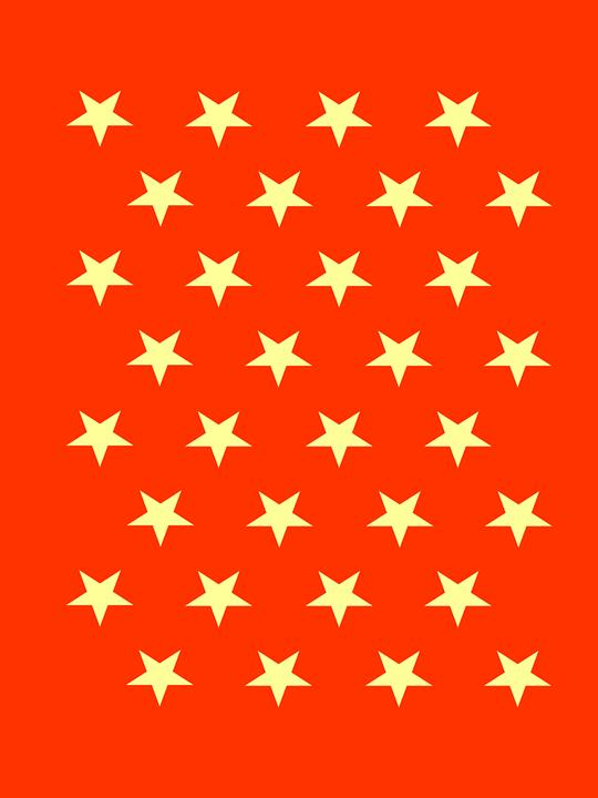 Stars, Pattern, Red, Design, Geometric, Orange Stars