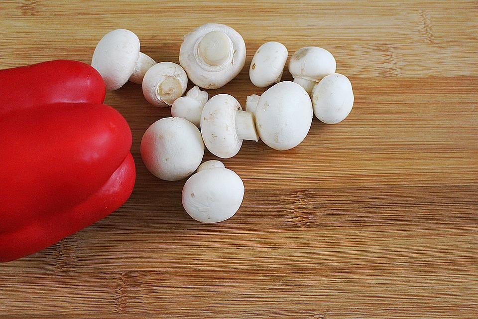 Mushroom, Mushrooms, White Mushroom, Red Pepper