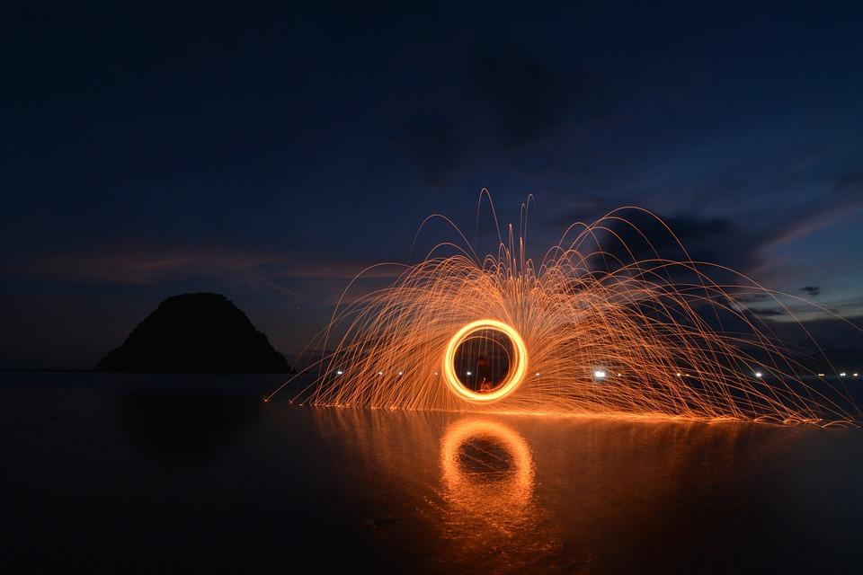 Steelwool, Sunset, Red Island, Beach, Sea, Red, Sky