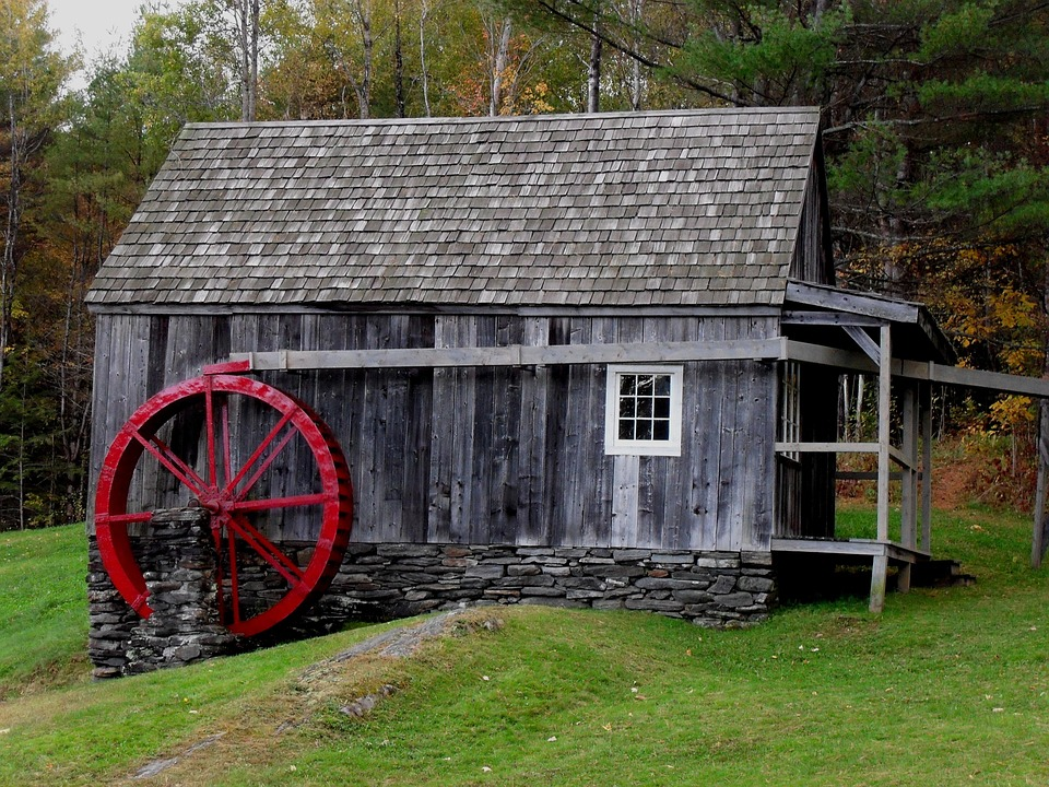 Mill, Wheel, Red, Rustic, Weathered, New England, Green