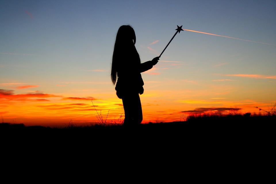 Sunset, Girl, Shadow, Magic Wand, Sky, Cloud, Red