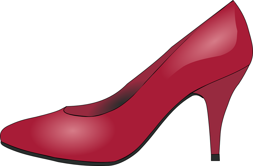 Heeled Shoes, Clothing, Shoe, Red, Glossy