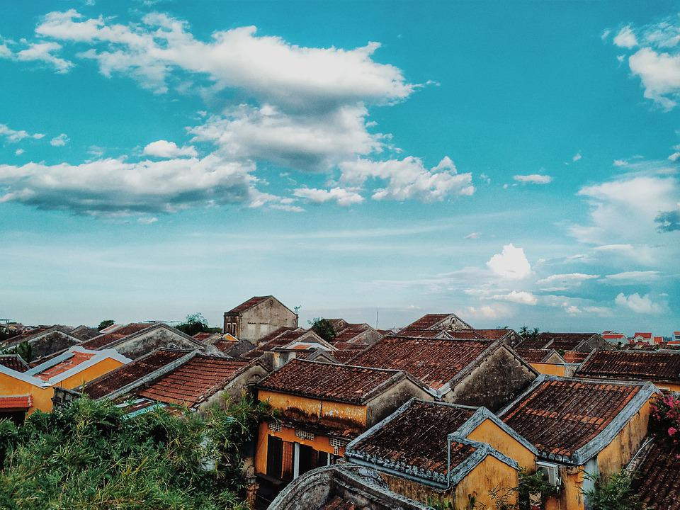 Sky, Cloud, Horizon, Old Houses, Old, Tiled, Red