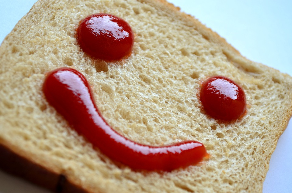 Bread, Ketchup, Red, Face, Smiley, Smile, Emoticon