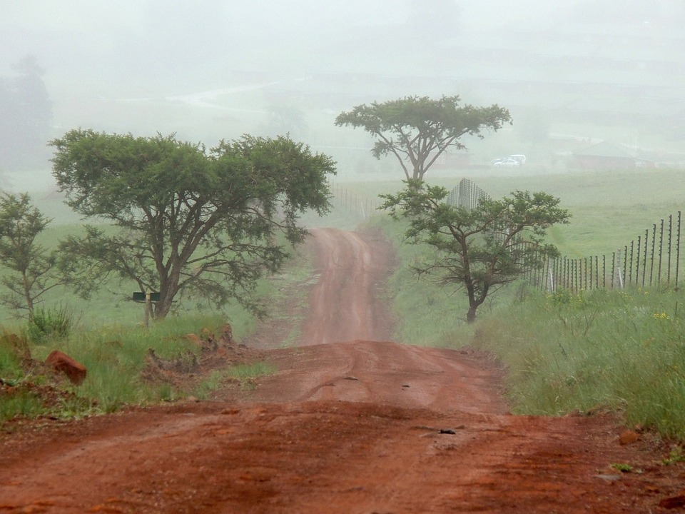 Red, Earth, Road, Veldt, Mist, South Africa
