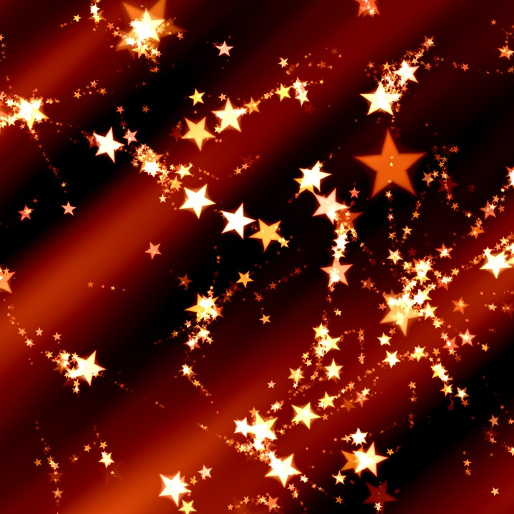 Star, Golden, Red, Christmas