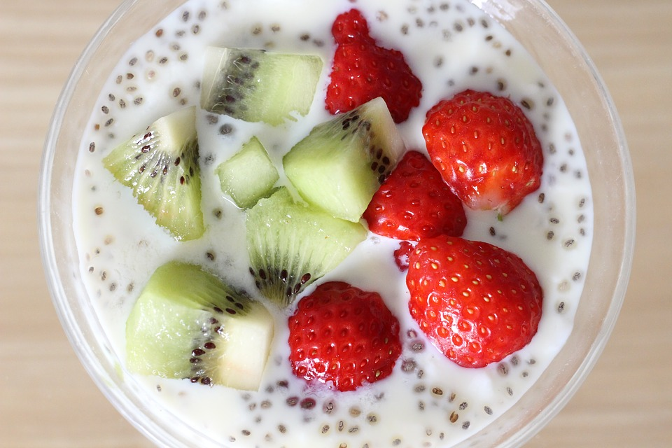 Yogurt, Chia Seeds, Fruit, Strawberry, Dessert, Red