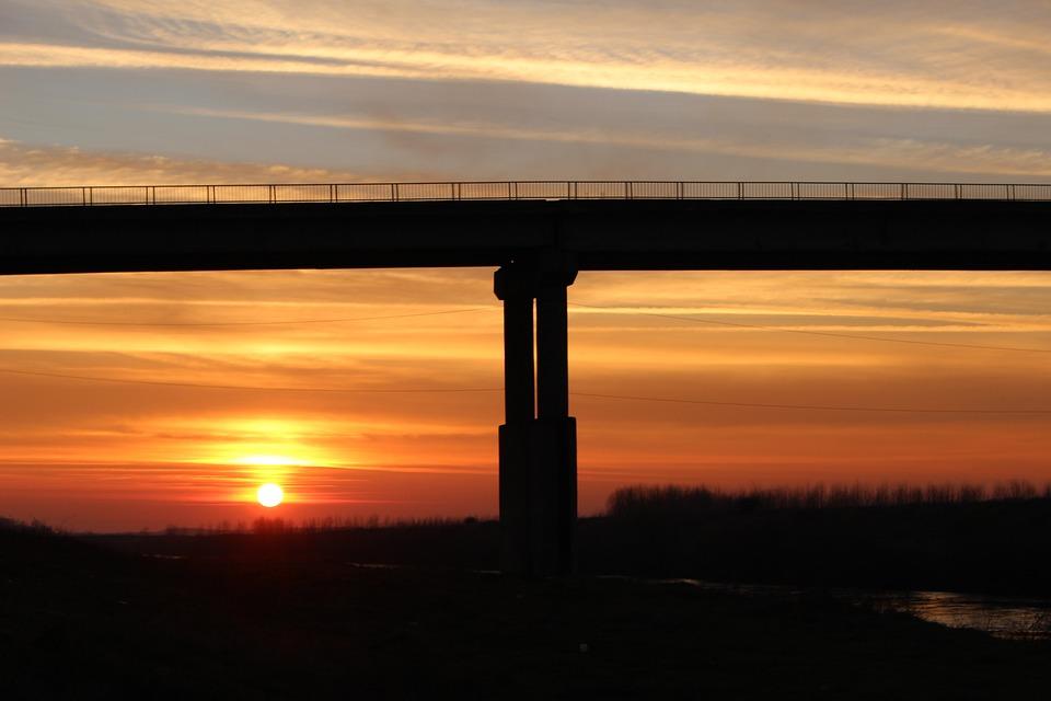 Bridge, Sun, Red