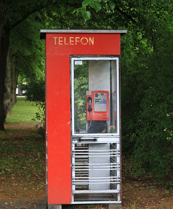 Telephone Booth, Telefon, Red, Park, Oslo, Norway
