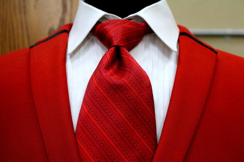 Red, Vest, Suit, Tie, Shirt, Collar, Knot, Lapels