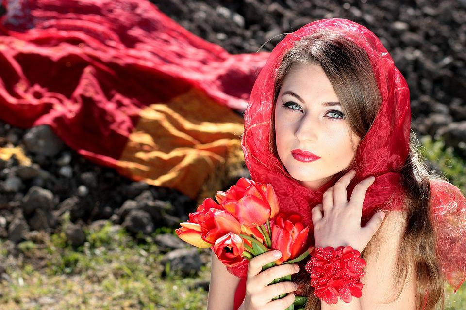Girl, About, Red, Blue Eyes, Tulips, Seductive