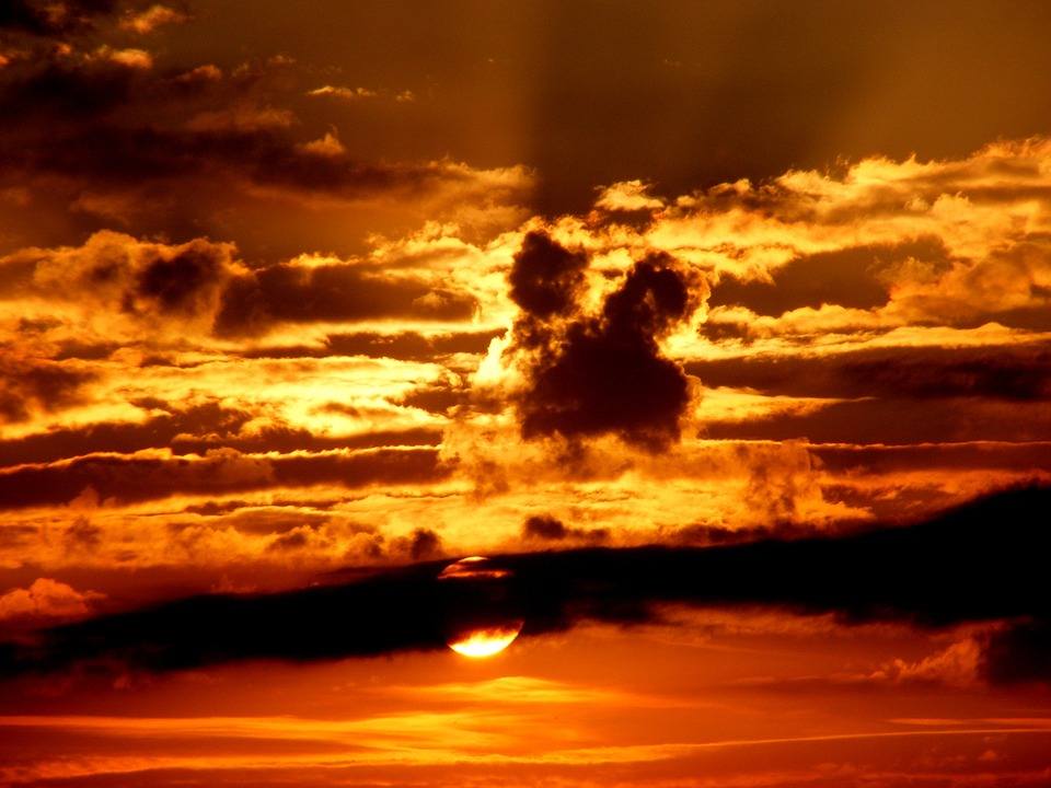 Sunset, Sky, Sun, Cloud, Twilight, Red