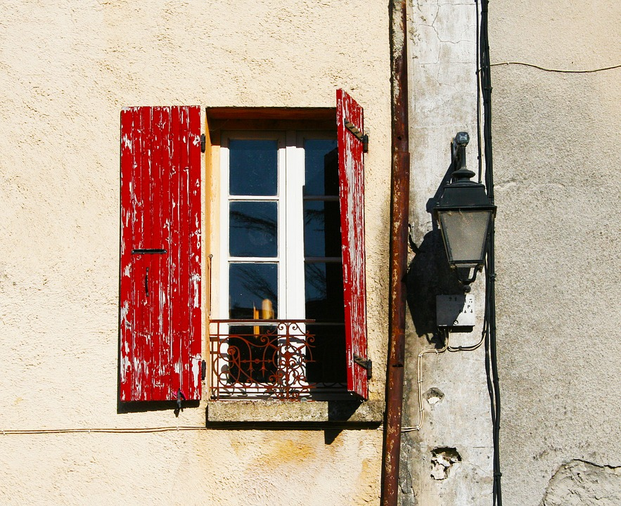 Shutters, Open, Red, Old, Worn, Lamp, Wall, Yellow