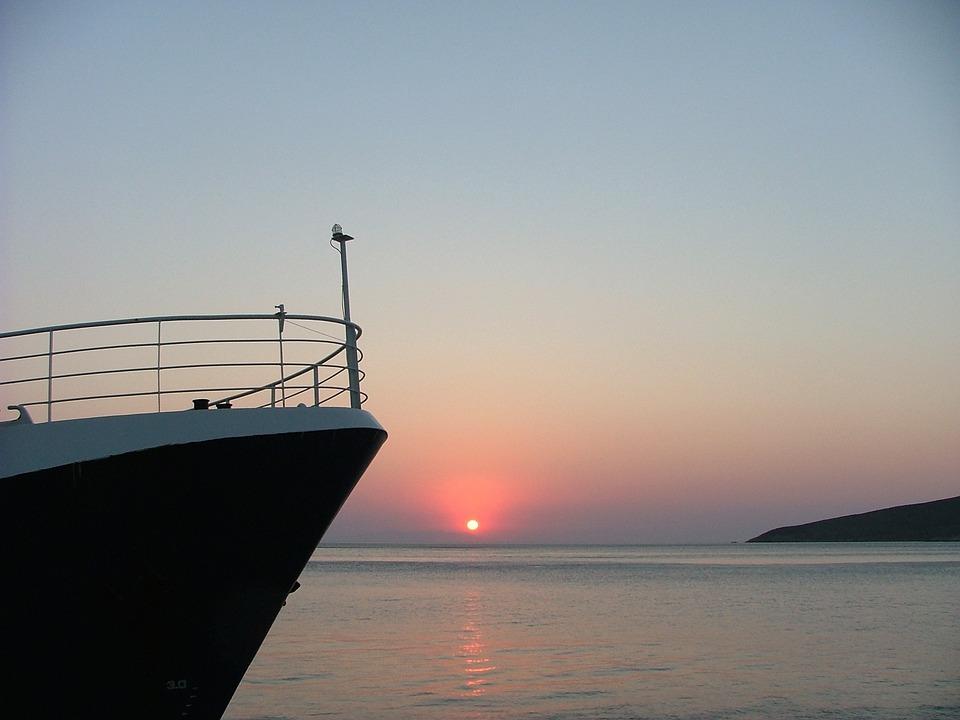Sunrise, Boat, Sea, Tilos, Greece, Water, Red, Heaven