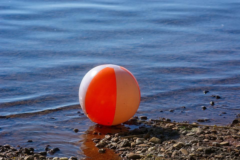 Water Polo, Ball, Bath Ball, Toys, Red, Water, Beach