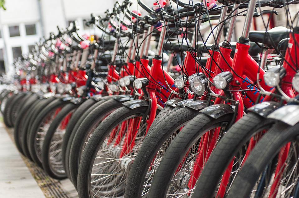 Bike, Station, Red, City, Drive, Bicycles, Wheel