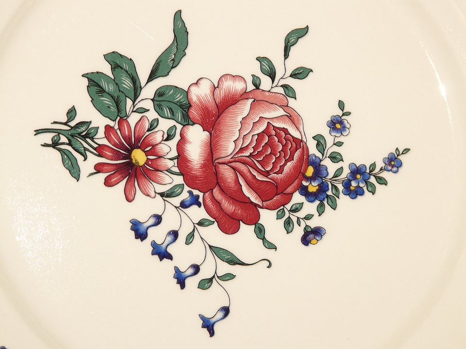Porcelain, Plate, Rose, Ornament, Red, White, Paint