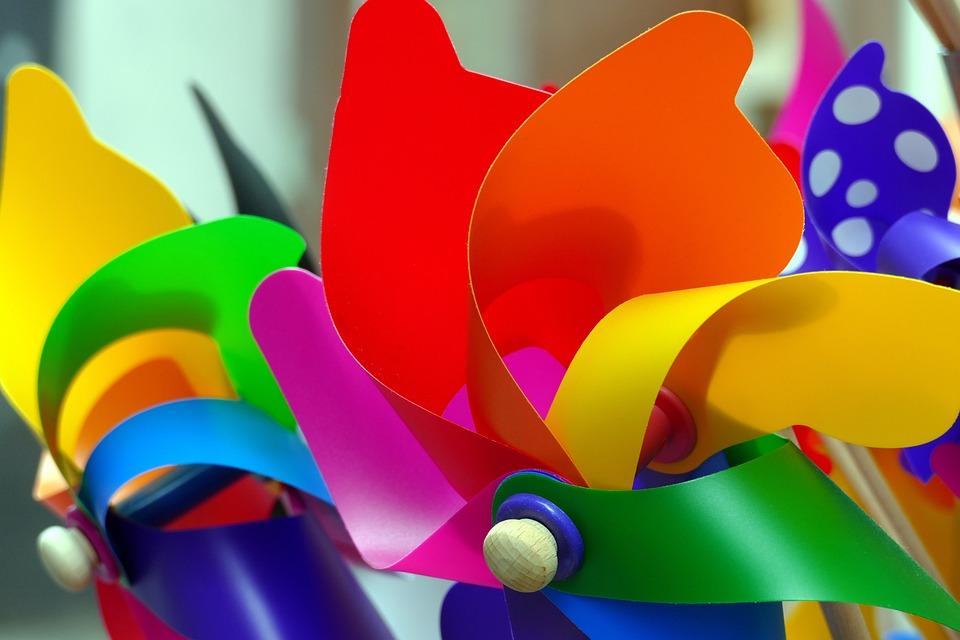 Windmills, Children Toys, Rainbow Colors, Pinwheel, Red