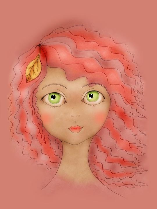 Girl, Girl Drawing, Green Eyes, Redhead, Portrait