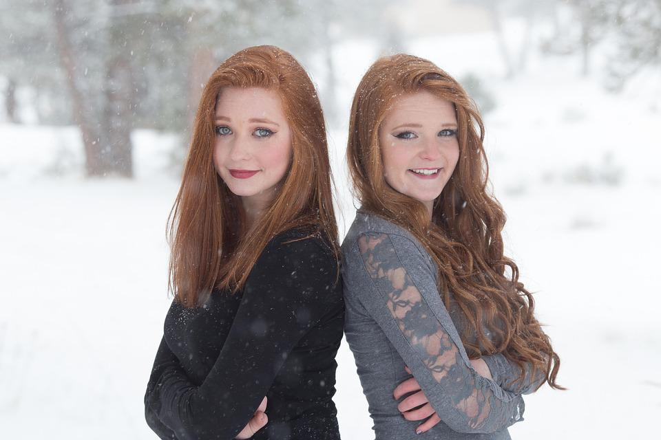 Sisters, Redheads, Beautiful, Happy, Snow, Girls
