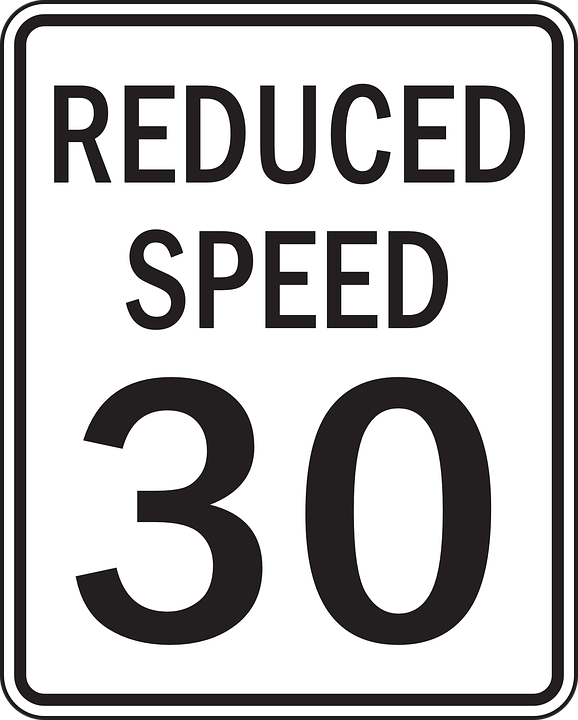 Reduce, Speed, Sign, Warning, Caution, Limit, Reduced
