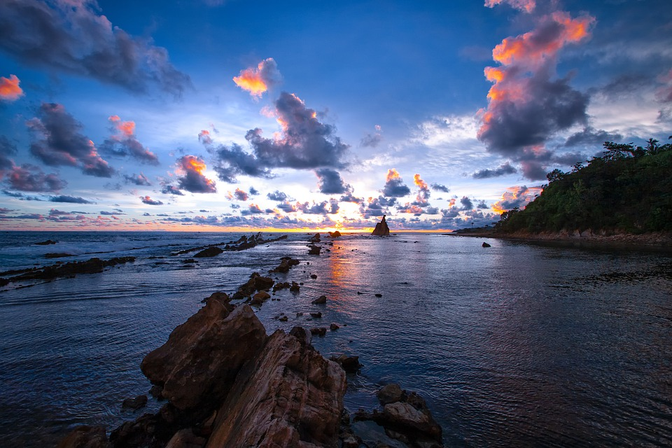 Sunset, The Indian Ocean, Coast, Reef, Cloud